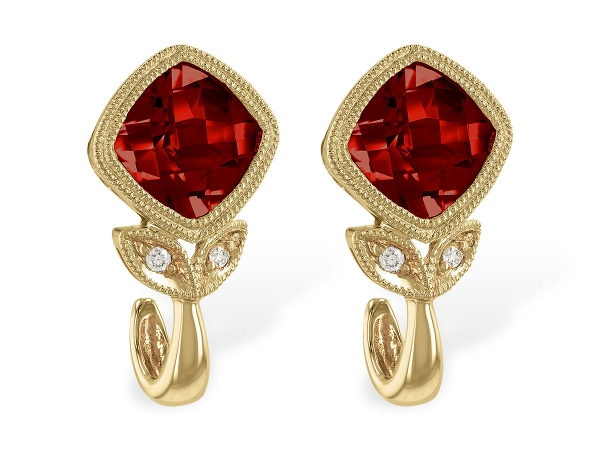 14KT Gold Earrings - EARR 2.32 GARNET 2.34 TGW