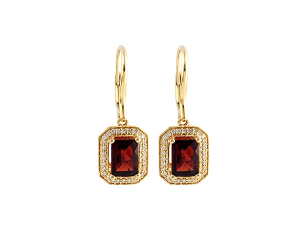 14KT Gold Earrings - EARR 2.24 GARNET 2.40 TGW