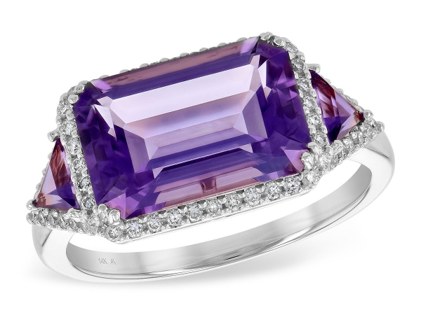 14KT Gold Ladies Diamond Ring - LDS RG 3.48 TW AMETHYST 3.70 TGW