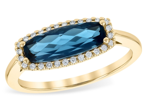 14KT Gold Ladies Diamond Ring - LDS RG 1.79 LONDON BLUE TOPAZ 1.90 TGW