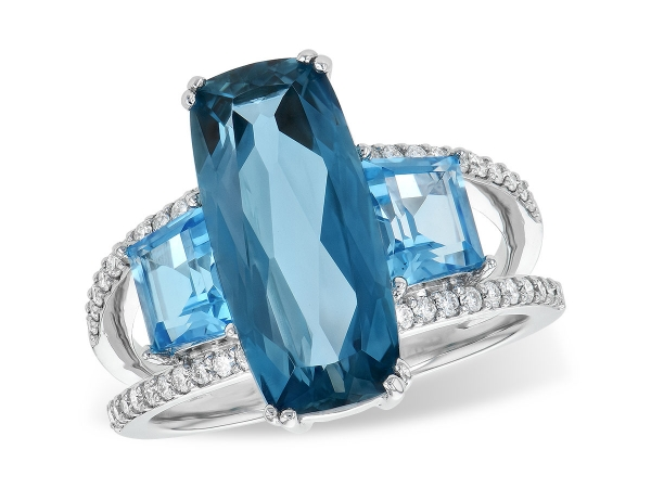 14KT Gold Ladies Diamond Ring - LDS RG 6.40 TW BLUE TOPAZ 6.67 TGW