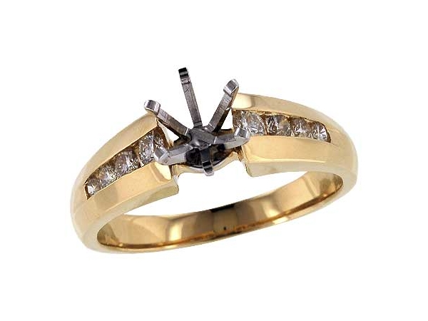 14KT Gold Semi-Mount Engagement Ring - LDS SEMI DIA RG .30 TW - HOLDS 0.75 CTR