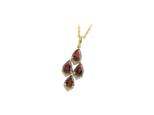 14KT Gold Necklace - NECK 2.86 GARNET 2.95 TGW