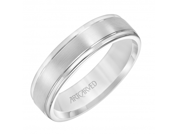Men's Wedding Band - Men's Comfort Fit Wedding Band with Satin Finish and Polished Round Edge