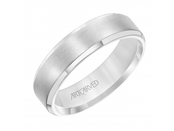 Men's Wedding Band - Men's Comfort Fit Wedding Band with Brushed Finish and Polished Bevel Edge