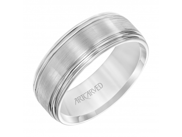 Men's Wedding Band - Men's Comfort Fit Wedding Band with Dome Profile, Satin Finish and Polished Round Edge