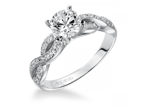 GABRIELLE - Diamond engagement ring with round center stone and pave set diamonds. PRICES REFLECTED ARE A STARTING RANGE; ACTUAL RING COST MAY VARY. PRICES BASED ON A GOLD MARKET PRICE OF APPROXIMATELY $1,150. CALL FOR TODAY'S EXACT COST. AVERAGE AVAILABILITY IS 2-3 WEEKS, CERTAIN CUSTOM SIZES OR METALS MAY TAKE FROM 3-4 WEEKS.