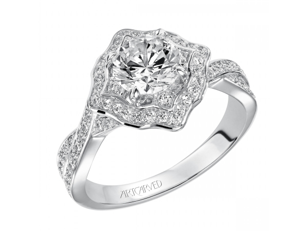 LUCIA - Contemporary Halo engagement ring featuring twisted diamond shank. PRICES REFLECTED ARE A STARTING RANGE; ACTUAL RING COST MAY VARY. PRICES BASED ON A GOLD MARKET PRICE OF APPROXIMATELY $1,150. CALL FOR TODAY'S EXACT COST. AVERAGE AVAILABILITY IS 2-3 WEEKS, CERTAIN CUSTOM SIZES OR METALS MAY TAKE FROM 3-4 WEEKS.