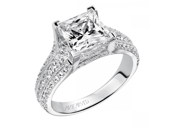 14K White Gold Engagement Ring - Estate diamond engagement ring features channel set graduated round diamonds with milgrain detail and prong set diamonds on the shank Milgrain detail is also feature under the center stone. (Semi-Mount only, center stone not included)