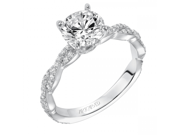 14K White Gold Engagement Ring - Madeleine, Contemporary prong set diamond engagement ring with diamond accented braided shank. (Semi-Mount only, center stone not included)