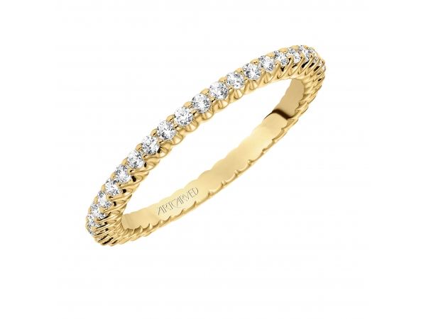 14K Yellow Gold Anniversary Band - Eternity wedding band with shared prong set, round diamonds.