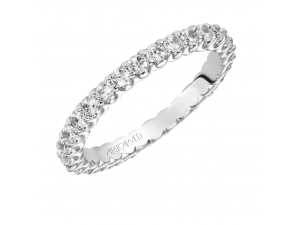 14K White Gold Anniversary Band - Eternity wedding band with shared prong set, round diamonds.