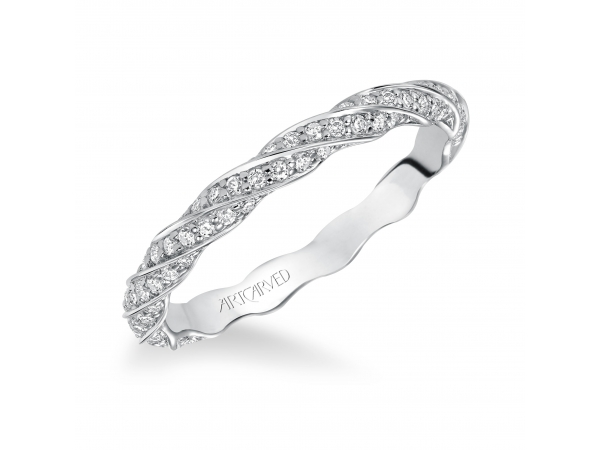 14K White Gold Anniversary Band - Contemporary prong set delicate twisted diamond eternity band.