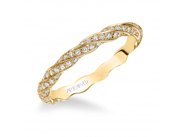 14K Yellow Gold Anniversary Band - Contemporary prong set delicate twisted diamond eternity band.