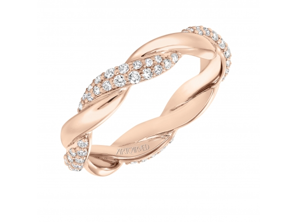 14K Rose Gold Anniversary Band - Contemporary pave diamond and gold twisted band. Can be worn as stackable ring, wedding or anniversary band. Available in white, yellow and rose gold.