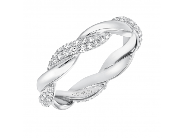 14K White Gold Anniversary Band - Contemporary pave diamond and gold twisted band. Can be worn as stackable ring, wedding or anniversary band. Available in white, yellow and rose gold.