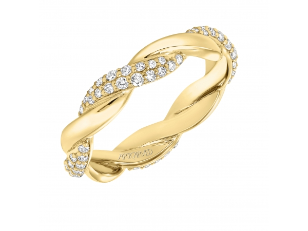 14K Yellow Gold Anniversary Band - Contemporary pave diamond and gold twisted band. Can be worn as stackable ring, wedding or anniversary band. Available in white, yellow and rose gold.