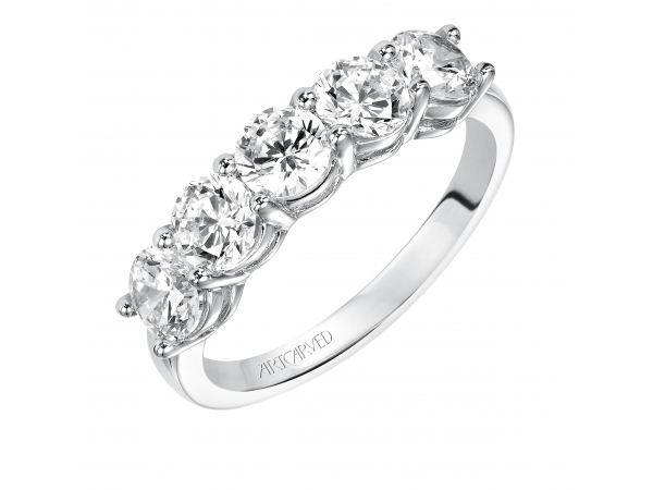 14K White Gold Anniversary Band - Wedding band with round, prong set diamonds.
