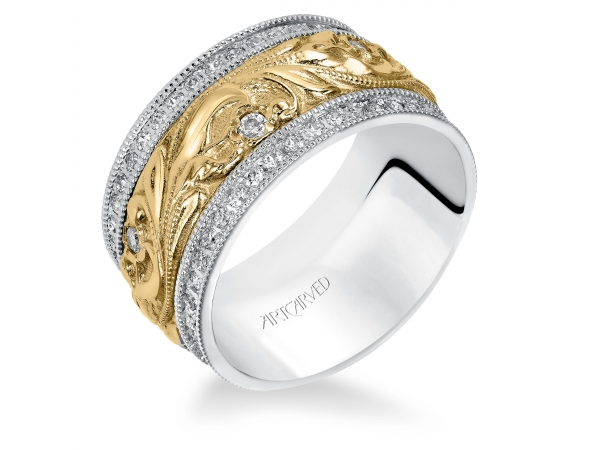 18K White/Yellow Gold Anniversary Band - Diamond Anniversary Ring