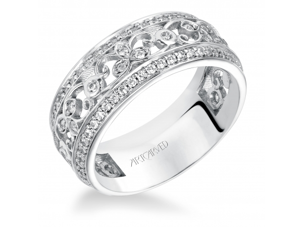 14K White Gold Anniversary Band - White Gold Stackable Band