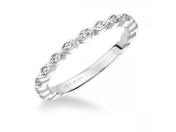 14K White Gold Anniversary Band - Anniversary ring with round diamonds set in a delicate petal motif design