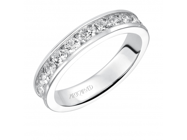 14K White Gold Anniversary Band - Eternity wedding band with round, channel set diamonds.