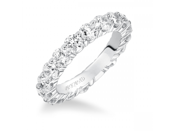14K White Gold Anniversary Band - Eternity Anniversary ring with shared prong set round diamonds