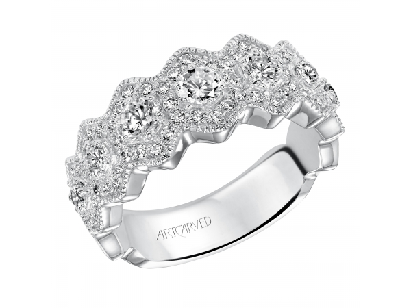 14K White Gold Anniversary Band - Fashion anniversary band with a asymmetrical design featuring round prong set diamonds and milgrain borders