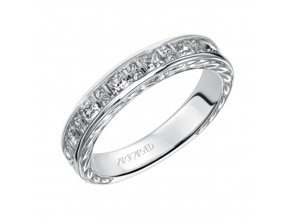 14K White Gold Anniversary Band - Wedding band with round and princess cut diamonds and engraved design.
