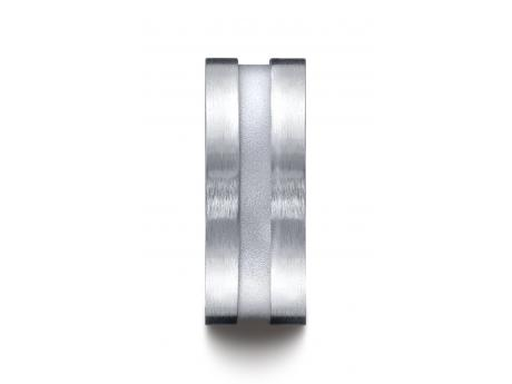 BENCHMARK Argentium Silver Wedding Ring - Argentium Silver 9mm Comfort-Fit Satin-Finished Center Channel Design Band