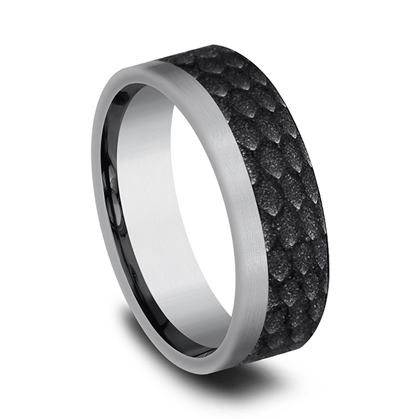 Wedding Bands - Tantalum and Black Titanium Comfort-fit Design Wedding Band - image #2