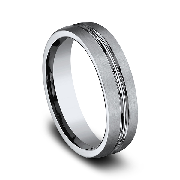 Wedding Bands - Titanium Comfort-Fit Design Ring - image 3