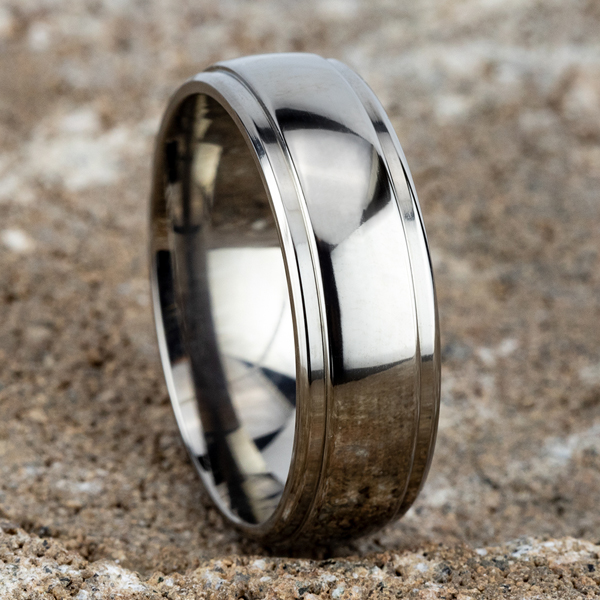 Wedding Bands - Titanium Comfort-Fit Design Wedding Band - image #4