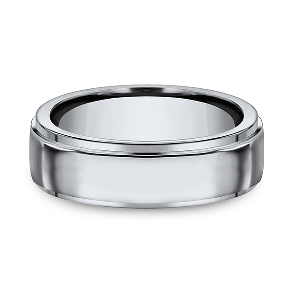 Men's Wedding Bands - Titanium Comfort-Fit Design Ring - image 3