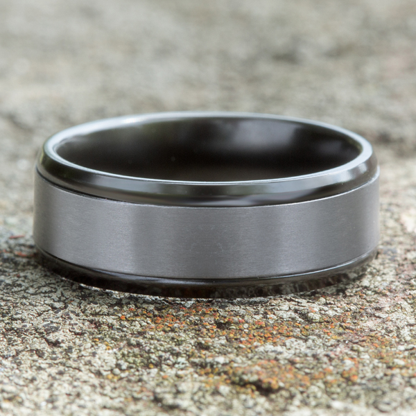 Wedding Bands - Grey Tantalum and Black Titanium two-tone Comfort-fit wedding band - image 4