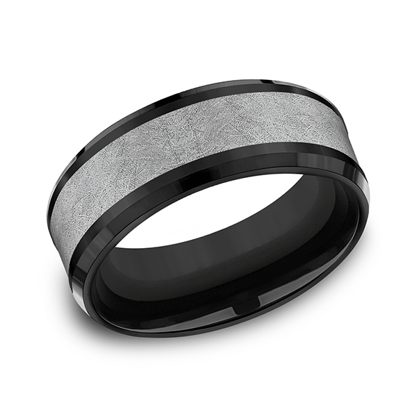 Men's Wedding Bands - Tantalum and Black Titanium Comfort-fit Design Ring