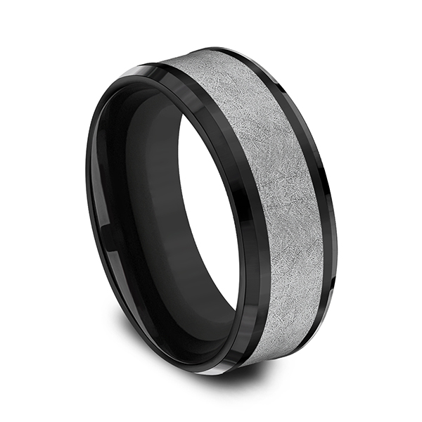Men's Wedding Bands - Tantalum and Black Titanium Comfort-fit Design Ring - image #2