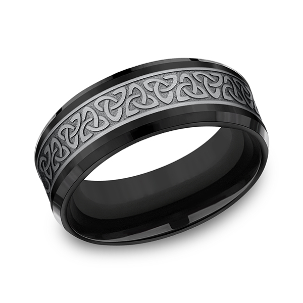 Wedding Bands - Tantalum and Black Titanium Comfort-fit Design Ring