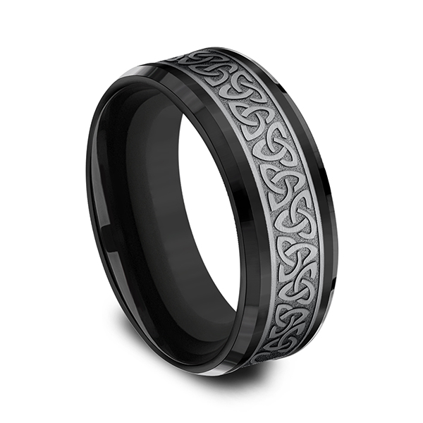 Wedding Bands - Tantalum and Black Titanium Comfort-fit Design Ring - image #2