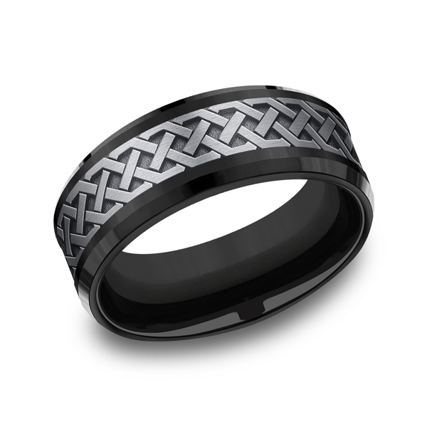 Grey Tantalum and Black Titanium two-tone Comfort-fit wedding band by Tantalum