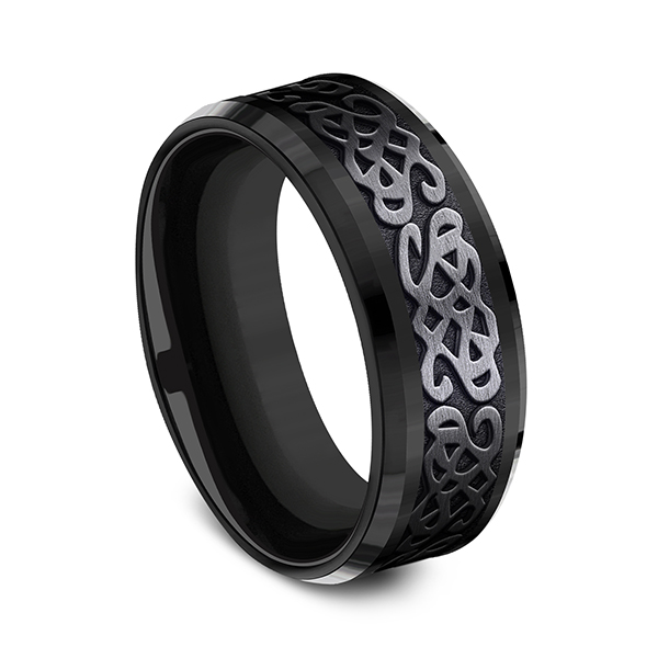 Wedding Bands - Black Titanium Comfort-fit Design Ring - image 3