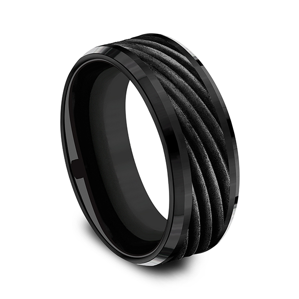 Men's Wedding Bands - Black Titanium Comfort-fit Design Ring - image #3