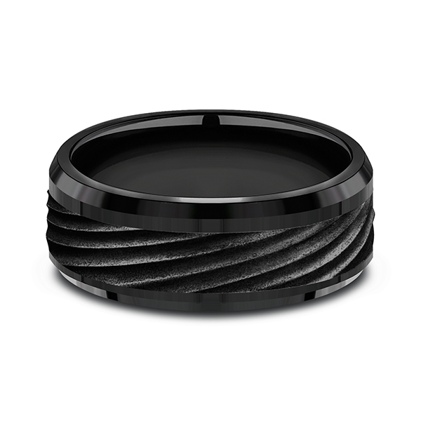 Wedding Bands - Black Titanium Comfort-fit Design Ring - image #2
