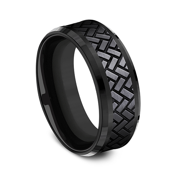 Men's Wedding Bands - Black Titanium Comfort-fit Design Ring - image 3