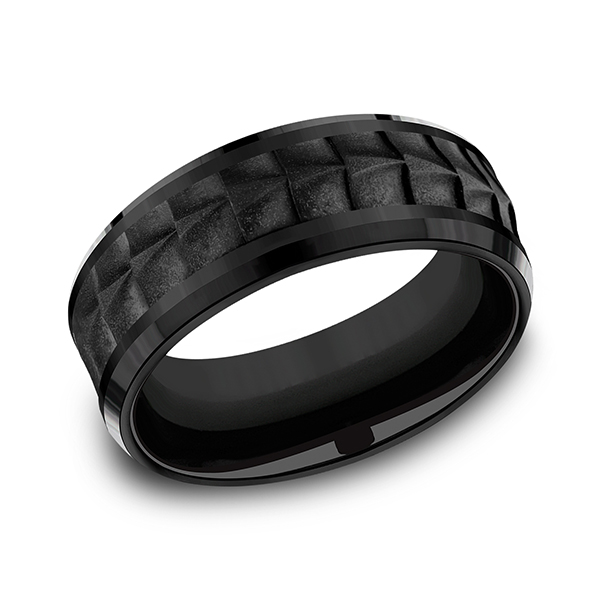 Men's Wedding Bands - Black Titanium Comfort-fit Design Ring