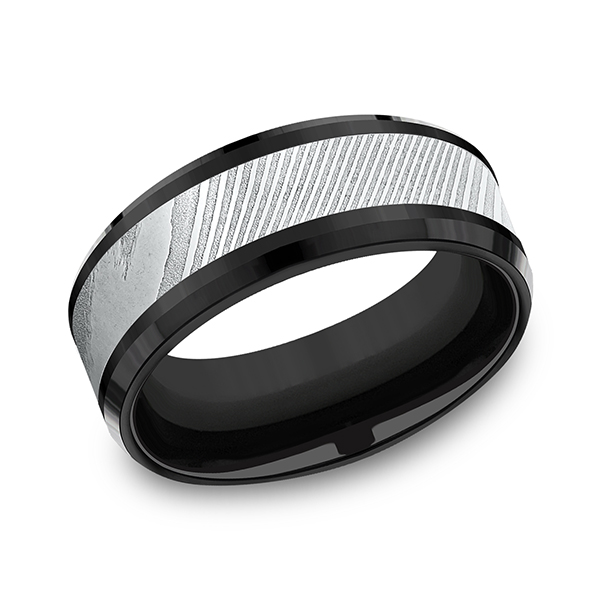 Wedding Bands - Black Titanium Comfort-fit Design Ring