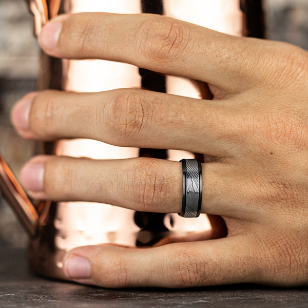 Wedding Bands - Black Titanium Comfort-fit Design Wedding Band - image #5