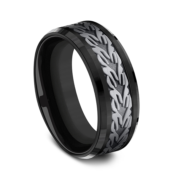 Wedding Bands - Tantalum and Black Titanium Comfort-fit Design Ring - image #3