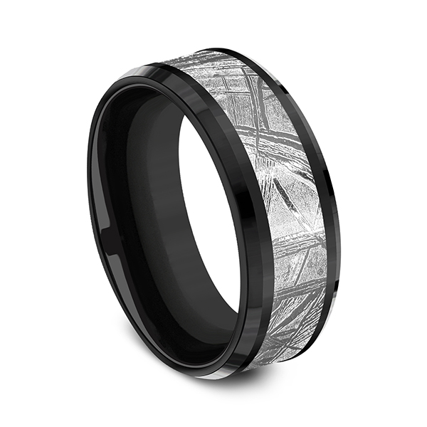 Wedding Bands - Black Titanium Comfort-fit Design Wedding Band - image 2