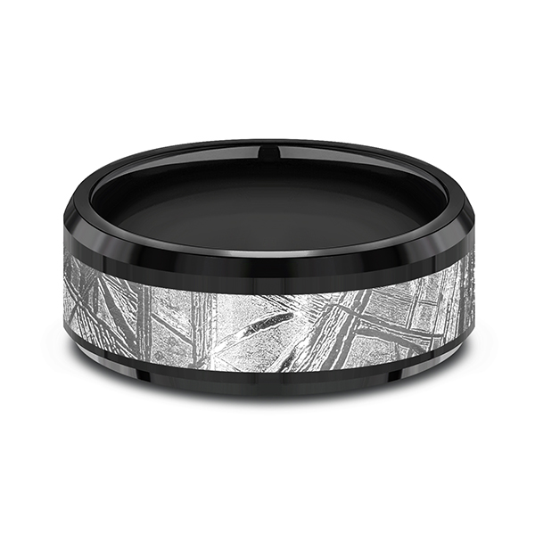 Wedding Bands - Black Titanium Comfort-fit Design Wedding Band - image 3